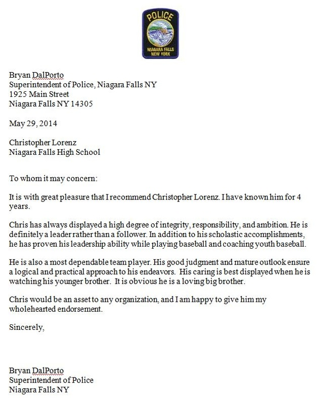 letter of recommendation chris lorenz